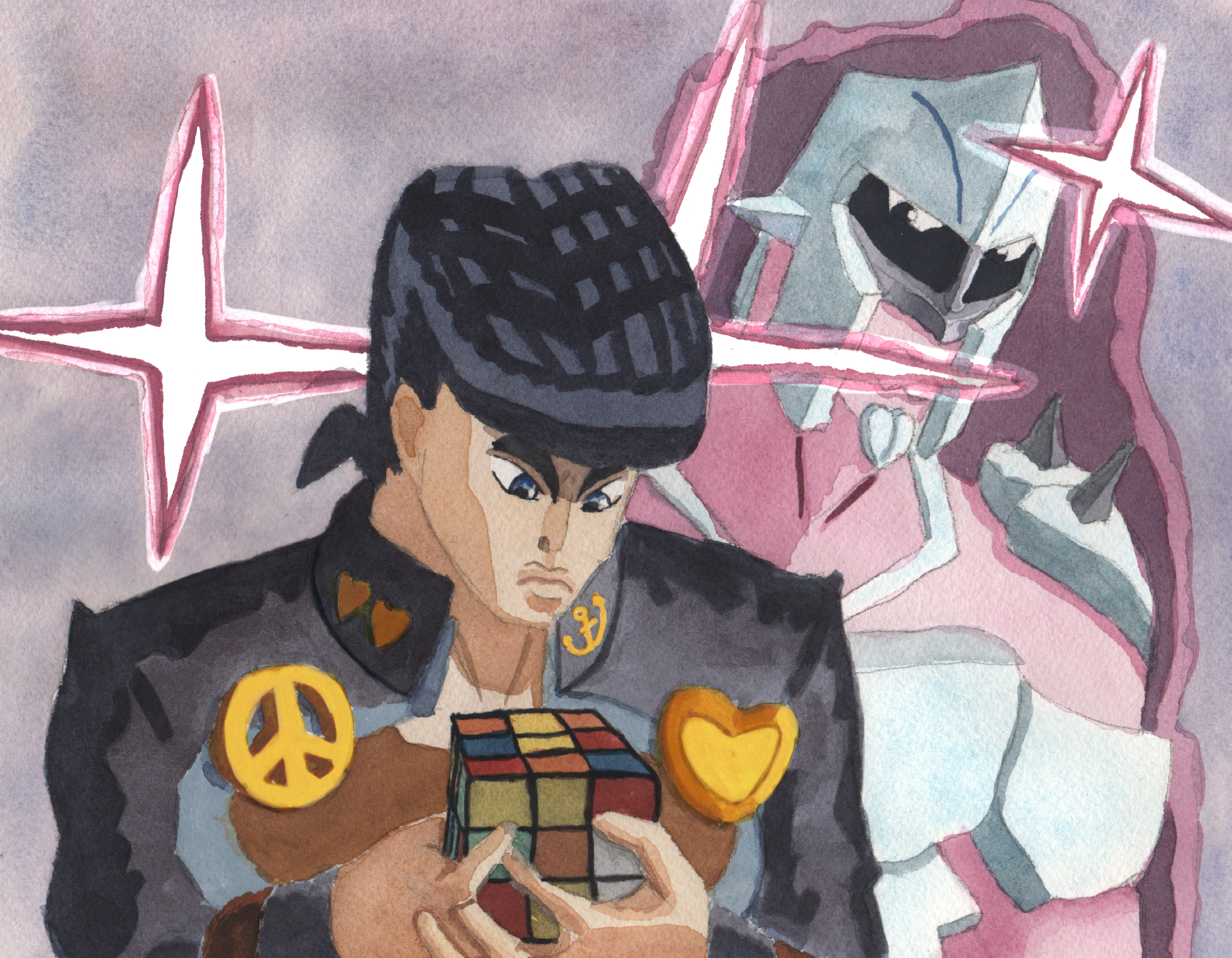 Josuke Higashikata and Crazy Diamond with a Rubik's Cube (Jojo's Bizarre Adventure)