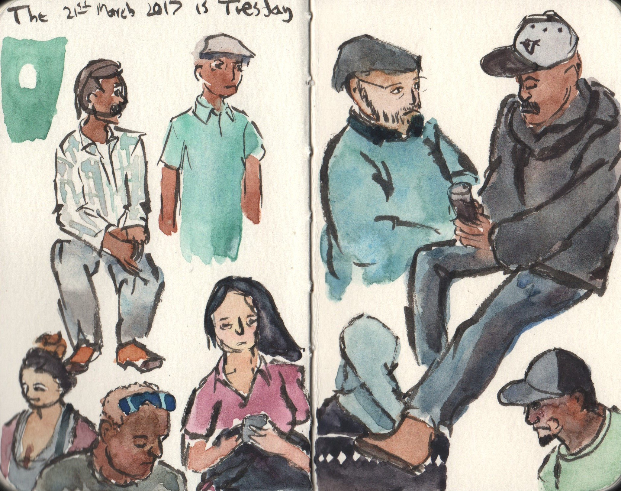 People sketching in watercolor, gouache, and ink.